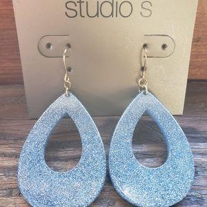 NWT! Studio S Large Blue Dangle Earrings